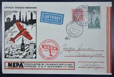 Denmark 1936 Nepa Stamp Expo First Flight Airmail Cover Horses to Kopenhagen !