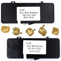 20/set Dental 18K Gold Coated Orthodontic Metal Bracket Mini Roth/MBT 022 3-4-5