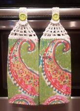2 NEW  HANGING DISH TOWELS with Crocheted Top /Paisley