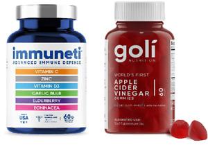 Goli + Immuneti Apple Cider Vinegar Gummy Immune Vitamin Combo Pack 60 count
