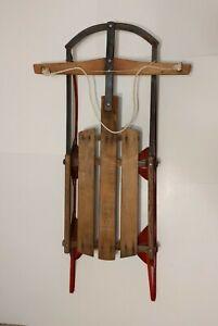 Vintage GLADDING SPEEDY wooden sled sleigh - red metal runners floating steering