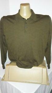 ALAN FLUSSER 100% Merino Wool L/S Polo Sweater Brown Size XL
