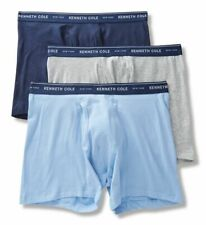 Kenneth Cole Cotton Stretch Boxer Briefs - 3 Pack Sky/Belr/Gry  RNM8217