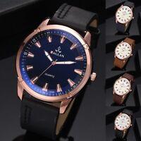 Men Leather Strap Quartz Analog Watch Business Scale Dial Steel Case Wristwatch