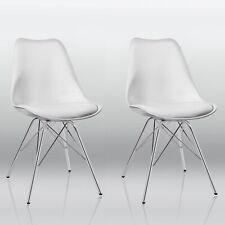 Duhome Retro Design Esszimmerstuhl aus Kunststoff - Weiß, 2er Set