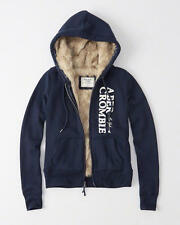 NWT Abercrombie & Fitch Faux Fur Full Zip Logo Hoodie Sweatshirt Jacket S Navy