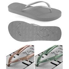 v1 Boomerangz Women's Grey Thongs / Flip Flops + Diamante Green and Gold Straps