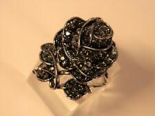 Grosse Bague fantaisie - La Rose de l'Iinitié sur base argentée