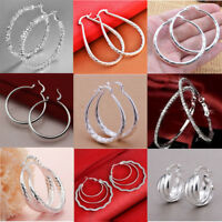 Fashion Women 925 Sterling Silver Ear Stud Hoop Dangle Earrings Wedding Jewelry