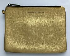 Aimee Kestenberg Gold Metallic Leather Cosmetic Bag Pouch