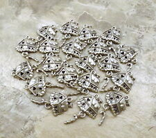 20 Pewter Charms -GINGERBREAD HOUSE with Candy Cane Dangle -5270
