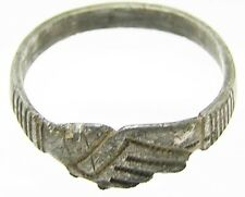 "Superb Medieval Gentleman's Silver Wedding Ring ""Fede"" Type c. 15th century"