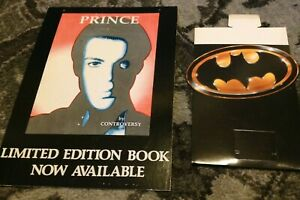 PRINCE by Controversy 1990 Book UK Store Display Ad + 1989 BATMAN OST Standup