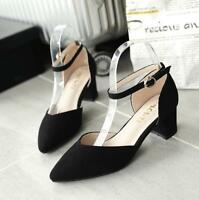 Women's Block Heel Pumps Pointed Toe Ankle Strap Stilettos Chunky Heel Shoes Q49
