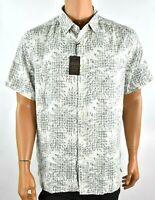 Tasso Elba Mens Shirt New XL Beige Silk Button up Short Sleeve Printed Casual