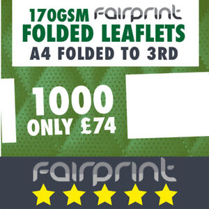 1000 Folded Leaflet and Menus / A4 to DL / 170gsm Gloss
