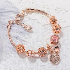 European Crystal Love Petal Heart Lock Beaded Rose Gold Plated Charm Bracelet