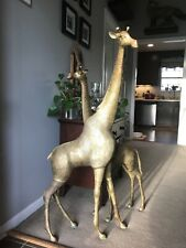 Vintage Pair Of Brass Giraffes 43� And 49�
