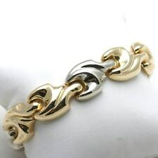 """Vintage 14k yellow white gold BRACELET wide swirl chunky smooth wide 7.5"""" long!"""