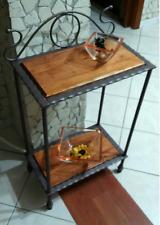 Scaffale libreria étagère mobile in ferro battuto e legno stile rustico rustici