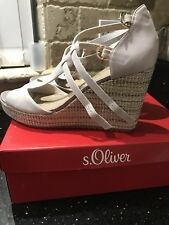 s.Oliver Womens Wedge Heels Sandals Grey 8 UK BNIB