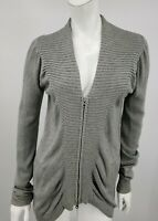 Zero + Maria Cornejo Sweater Medium Grey Silk Cashmere Knit Zip Front Cardigan