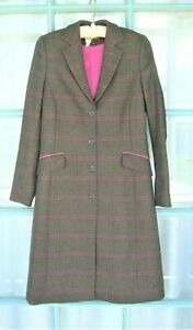 REALLY WILD Below knee Tweed Coat 10 Moss and pink Windowpane check Immaculate