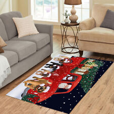 Christmas Express Delivery Red Truck Running Puggle Dogs Area Rug