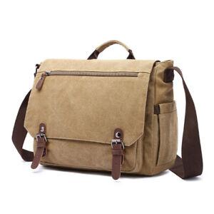 Retro Large Canvas Men's 15.6'' Laptop Messenger Shoulder Bag Crossbody Satchel