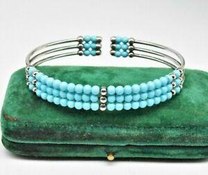 Vintage .800 Sterling Silver bracelet Turquoise Bead Art Deco Nouveau Gift #H328