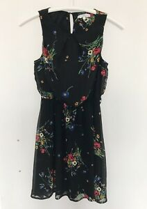 NEW LOOK Sz 8 Dress Womens Top Floral 36 38 S M Layered Black Skater Tunic 10 x