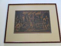 ANTIQUE PRESCOTT CHAPLIN WOODCUT WOODBLOCK OLD MEXICAN MEXICO SIGNED ART DECO