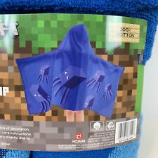 Minecraft Boys Blue Hooded Towel Wrap NEW