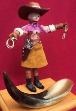 Old Vintage Collectable Cowgirl Doll Horn Ashtray Display RARE