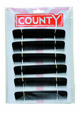 "County 6"" gents mens pocket hair combs, black plastic, 12 on a card"