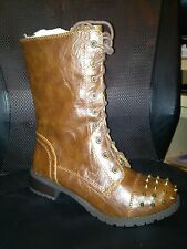 NIB Studded Combat Military Boots Soda Butter 8.5