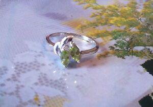 Ravishing 0.55ctw Genuine Peridot Marquise Stamped 925 Sterling Silver Ring. Sz7