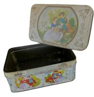 Vintage Tin Box Romantic Courting Couple Nice Patina