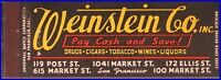 MINT 1940s Weinstein Co Inc Full Length Matchbook Cover - San Francisco, CA
