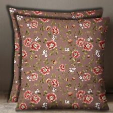 S4Sassy 2 Pcs Cotton Poplin Floral Print Square Brown Pillow Sofa Cushion Cover