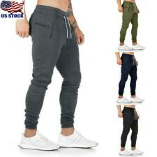 Mens Gym Slim Fit Trousers Tracksuit Bottoms Skinny Joggers Sweat Track Pants US