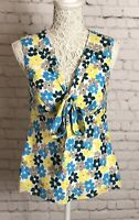 Laura Ashley Sleeveless Floral Print Tie Neck Top Lined Size 10 Smart Casual