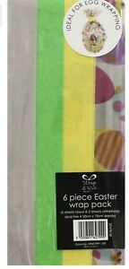 6 Piece Easter Wrap Pack Easter Tissue and Cellophane Wrap -50x70cm Egg Wrapping