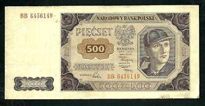 Poland (P140) 500 Zlotych 1948