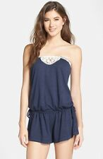 Lucky Brand  XS-S Natural Connection Blue Bandeau Romper Swimsuit Cover-Up NWT