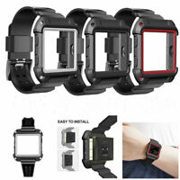 Replacement Silicone Watch band + Protective Case Sport Strap For Fitbit Blaze