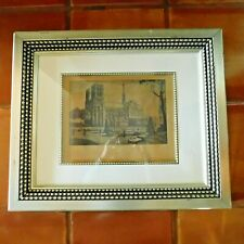 Atq.17th CENTURY NOTRE DAME CATHEDRAL ETCHING / SIGNED CH MOLLET FRAMED / PARIS