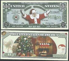 Ho-Ho-Ho! Santa Fireplace Christmas Million Dollar Bill Funny Money Novelty Note