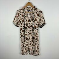 Dotti Womens Dress 10 Beige Floral Short Sleeve Collared