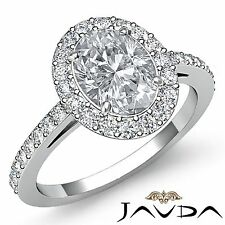 Halo Pre-Set Oval Diamond Engagement Unique Ring GIA H VS1 18k White Gold 1.95ct